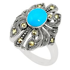 925 silver blue sleeping beauty turquoise marcasite ring size 6.5 c17342