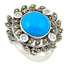925 silver blue sleeping beauty turquoise marcasite ring size 6.5 c22357