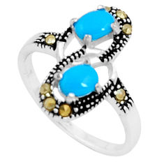 925 silver 1.96cts blue sleeping beauty turquoise marcasite ring size 6.5 c23654
