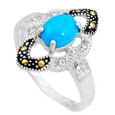 925 silver 2.09cts blue sleeping beauty turquoise marcasite ring size 8 c23649