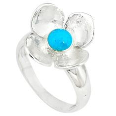 925 silver blue sleeping beauty turquoise round ring size 6 a66640 c13548