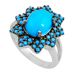 925 silver 4.30cts blue sleeping beauty turquoise solitaire ring size 4.5 c23416