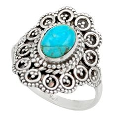 925 silver 2.33cts blue sleeping beauty turquoise solitaire ring size 7 d36137