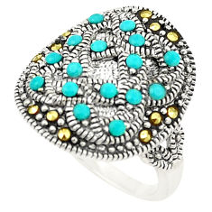 925 silver blue sleeping beauty turquoise swiss marcasite ring size 4 c20799