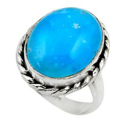 925 silver 10.96cts blue smithsonite solitaire ring jewelry size 7.5 r28418