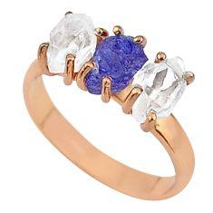 7.96cts blue tanzanite raw fancy 14k rose gold handmade ring size 9 t14005