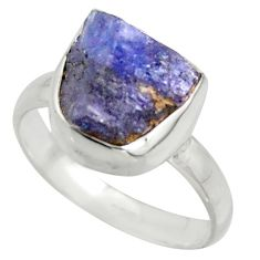 925 silver 5.54cts blue tanzanite rough solitaire ring jewelry size 7 r41624
