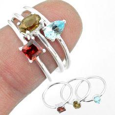 925 silver 2.72cts brown smoky topaz garnet topaz 3 rings jewelry size 6 t51057