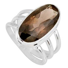 925 silver 8.70cts brown smoky topaz oval shape solitaire ring size 7.5 r58669