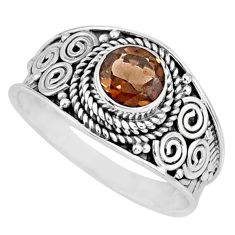 925 silver 1.39cts brown smoky topaz round shape solitaire ring size 9 r57984