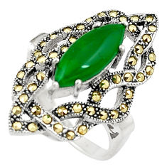 925 silver 4.96cts chalcedony marcasite solitaire ring jewelry size 8.5 c17486
