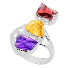 925 silver 12.96cts citrine amethyst raw garnet raw ring size 8 r73809