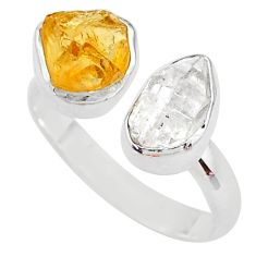 925 silver 9.16cts citrine raw herkimer diamond adjustable ring size 9.5 t9911