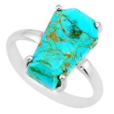 925 silver 4.91cts coffin arizona mohave turquoise solitaire ring size 7 r81788