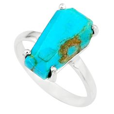 925 silver 4.86cts coffin arizona mohave turquoise solitaire ring size 7 r81844