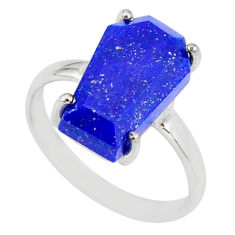 925 silver 5.13cts coffin natural blue lapis lazuli solitaire ring size 7 r81851