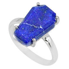 925 silver 5.92cts coffin natural blue lapis lazuli solitaire ring size 7 r82004