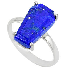 925 silver 5.54cts coffin natural blue lapis lazuli solitaire ring size 8 r81773