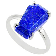 925 silver 5.13cts coffin natural blue lapis lazuli solitaire ring size 8 r81835