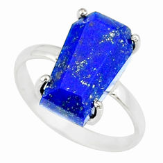 925 silver 6.24cts coffin natural blue lapis lazuli solitaire ring size 8 r81859