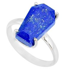 925 silver 5.13cts coffin natural blue lapis lazuli solitaire ring size 8 r83567