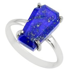 925 silver 5.92cts coffin natural blue lapis lazuli solitaire ring size 9 r81776
