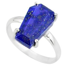 925 silver 5.54cts coffin natural blue lapis lazuli solitaire ring size 9 r81793