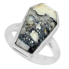 925 silver 8.42cts coffin natural bronze wild horse magnesite ring size 7 r96084