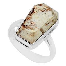 925 silver 8.11cts coffin natural bronze wild horse magnesite ring size 7 r96097