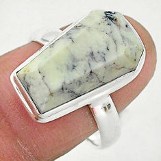925 silver 7.83cts coffin natural dendrite opal solitaire ring size 8 r96116