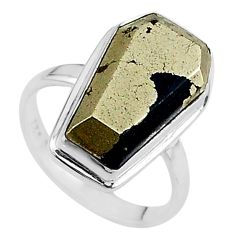 925 silver 9.56cts coffin natural golden pyrite in magnetite ring size 6 t17445