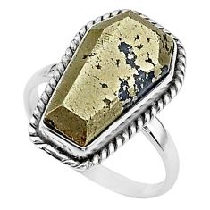 925 silver 9.47cts coffin natural golden pyrite in magnetite ring size 8 t17451