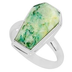 925 silver 8.16cts coffin natural green mariposite solitaire ring size 8 r96088