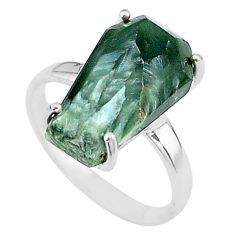 925 silver 8.07cts coffin natural green seraphinite (russian) ring size 8 t17439