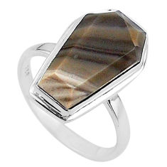 925 silver 8.06cts coffin natural grey striped flint ohio ring size 8 t17466