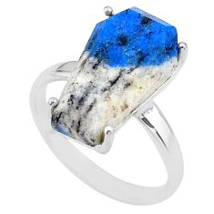 925 silver 7.17cts coffin natural k2 blue (azurite in quartz) ring size 8 t17343