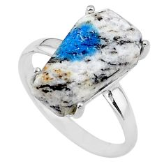 925 silver 8.56cts coffin natural k2 blue (azurite in quartz) ring size 8 t17353