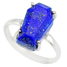 925 silver 5.92cts coffin natural lapis lazuli solitaire ring size 8.5 r81839