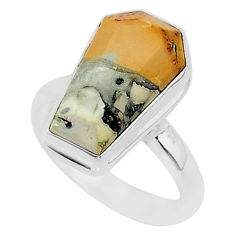 925 silver 7.66cts coffin natural malinga jasper solitaire ring size 7 r96138