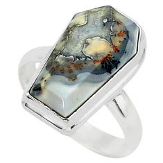 925 silver 7.83cts coffin natural malinga jasper solitaire ring size 8 r96135