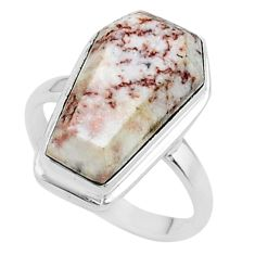 925 silver 8.06cts coffin natural pink rosetta stone jasper ring size 6 t17498