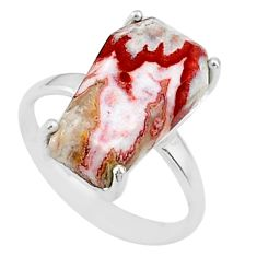 925 silver 6.73cts coffin natural pink rosetta stone jasper ring size 7 t17400