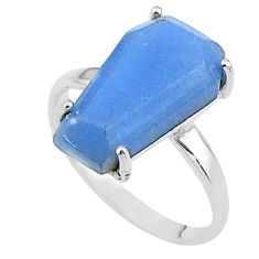 925 silver 8.12cts coffin solitaire natural blue angelite ring size 8 t17329