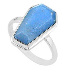 925 silver 8.33cts coffin solitaire natural blue angelite ring size 9 t17488