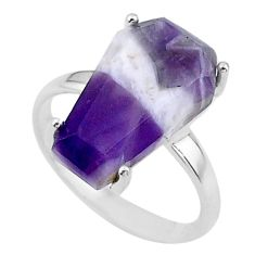 925 silver 7.17cts coffin solitaire natural chevron amethyst ring size 7 t17425