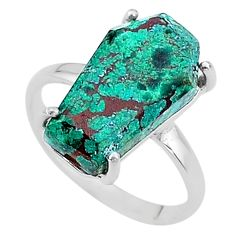 925 silver 7.17cts coffin solitaire natural green chrysocolla ring size 8 t17325