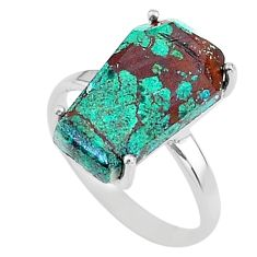 925 silver 7.96cts coffin solitaire natural green chrysocolla ring size 8 t17331