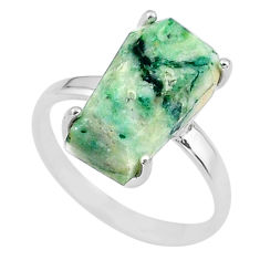 925 silver 8.01cts coffin solitaire natural green mariposite ring size 9 t17320