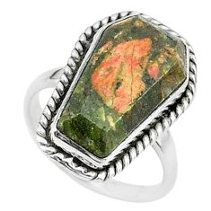 925 silver 8.05cts coffin solitaire natural green unakite ring size 6 t17504