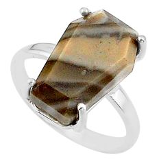 925 silver 7.66cts coffin solitaire natural imperial jasper ring size 7 t17404